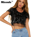 Missufe 2017 Summer Sexy Top Lace Sequins Short Sleeve Women T Shirt Casual Bodycon Night Club Fashion Cropped Tops Lady T-Shirt