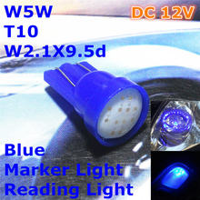 12V LED Blue Color Car Bulb Lamp T10(New COB Lamp) W5W W2.1X9.5d for Trunk Boot Licence Board Reading Light(China)