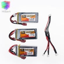 LiPo Battery 11.1V 1500Mah 3S 40C MAX 60C T Plug and 3 in1 cable RC Car Airplane trucks buggy boats Helicopter