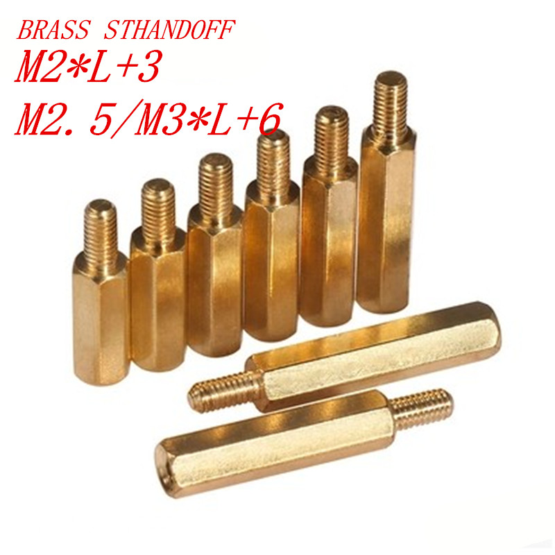 50Pcs/lot M2*L+3 M2.5/M3*L+6 M-F Hex head Brass Spacing Screws Threaded Pillar PCB Computer PC Motherboard StandOff Spacer 100pcs lot m3 l 6 brass standoff spacer female male spacing screws nickel plated brass threaded spacer hex spacer bssfmnp m3