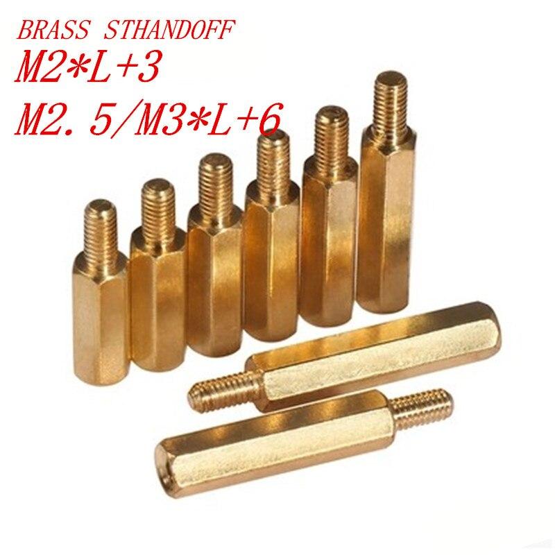 uxcell 50pcs M2 3+3mm Male Thread Brass Round Standoff Spacer Screw PCB Pillar