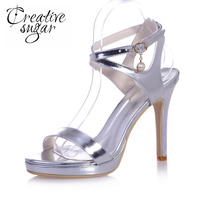 Creativesugar patent leather narrow bands metallic women sandals summer shoes gold silver royal blue high heels ankle strap
