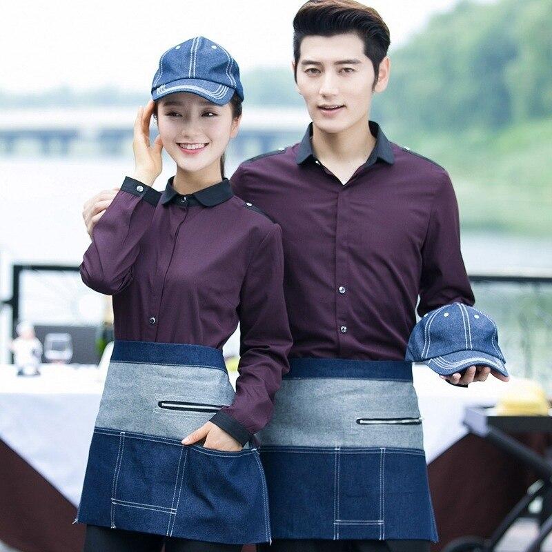 Hotel Work Clothes Long-sleeve Cafe Waitress Uniform Shirt Restaurant Fast Food Hot Pot Shop Catering Waiter Single Jacket H2382