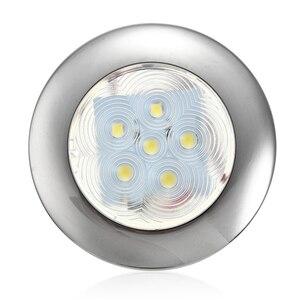 Image 1 - 2835 SMD 12V 6 LED Marine Yacht Boat Round Lamp Stainless Steel Transom Lighting Blue/White Dome Light