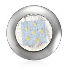 2835 smd 12 v 6 led 해양 요트 보트 라운드 램프 스테인레스 스틸 transom 조명 블루/화이트 돔 빛