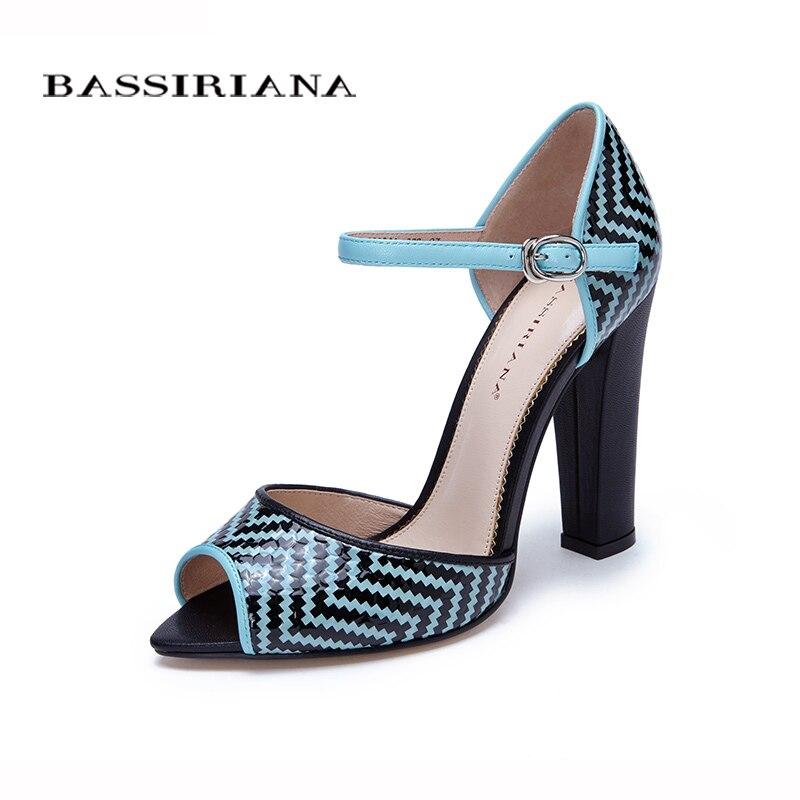 High heels shoes woman 2017 Genuine leather Trendy blue Black women shoes pumps Russian size 36