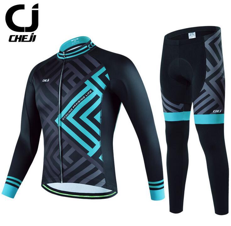 CHEJI Bike Bicycle Cycling Long Sleeve Jersey& Pants Suit Green Leaf Mens Clothe shengqi men s long sleeve cycling jersey pants set green black m