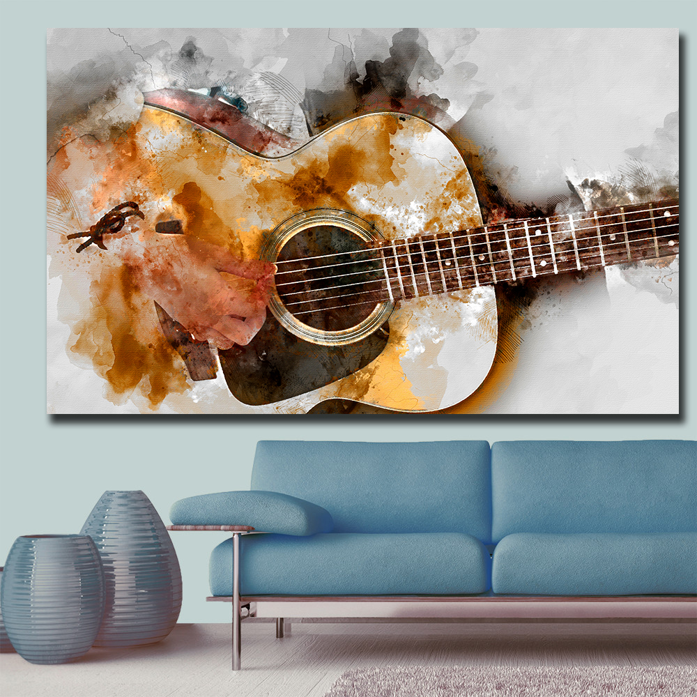 Colourful Music Paint Wall Art Large Poster /& Canvas Pictures Abstract Guitar