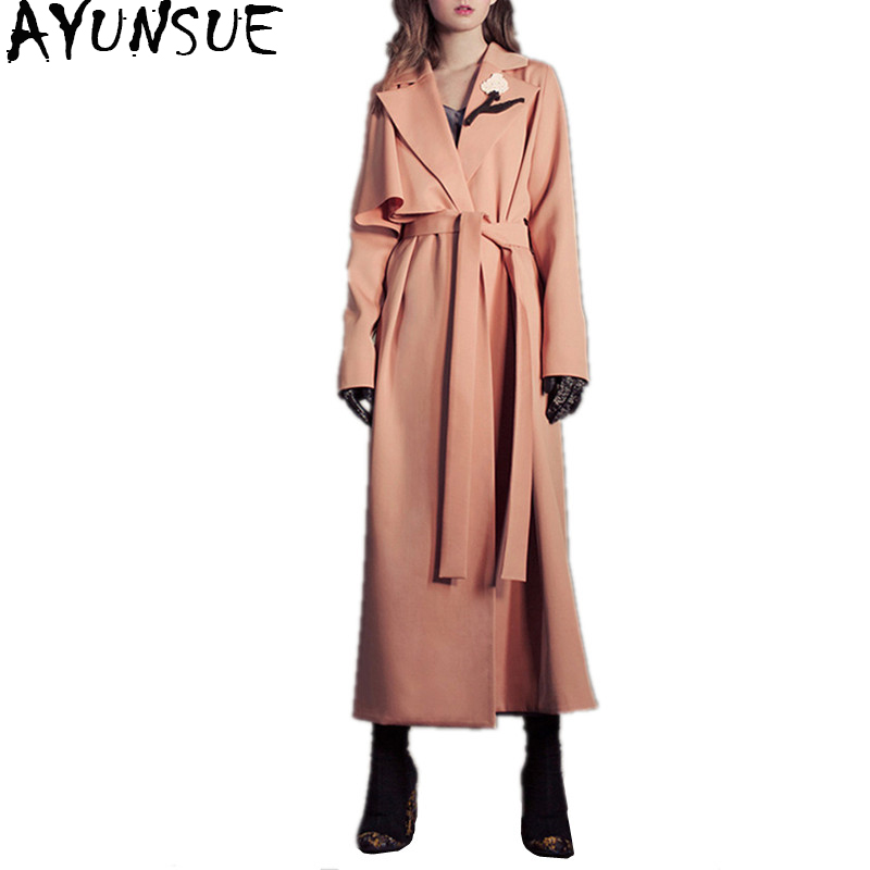 AYUNSUE Fashion Long Trench Coat With Belt Spring Autumn Women's Windbreaker Europe America Trend Trench Female Overcoat WYQ1382