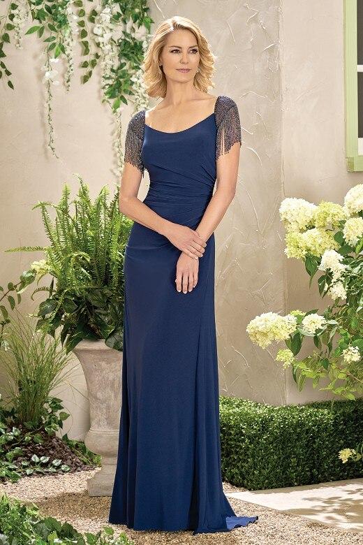 Élégant bleu marine Jersey perlé pas cher sirène mère de la mariée robes robes de soirée longue robe formelle Vestido mae da noiva