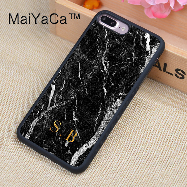 various colors 69e1b 47c5b US $4.32 5% OFF|MaiYaCa Monogram marble Gold initials Custom Design Soft  TPU Rubber Back Cover Case For Apple iphone 8 Plus Phone Cases-in Fitted ...