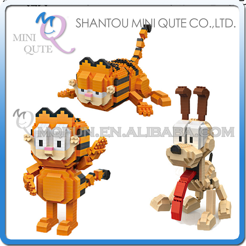 Mini Qute LOZ Kawaii American movie cartoon cat dog animal Odie Garfield plastic building blocks action figures educational toy
