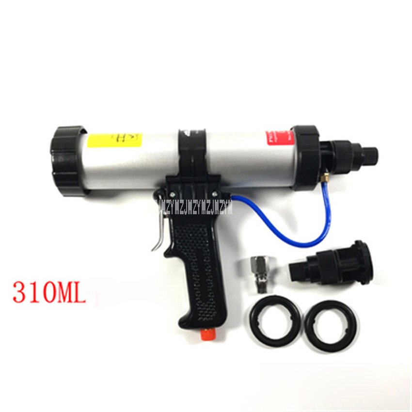 2 Sealing Rings Warm And Windproof Hot Selling 300ml Tube Installed Pneumatic Glue Gun,21.5-22.5cm,6 Bar,with 1 Fast Interface 1 Control Valve