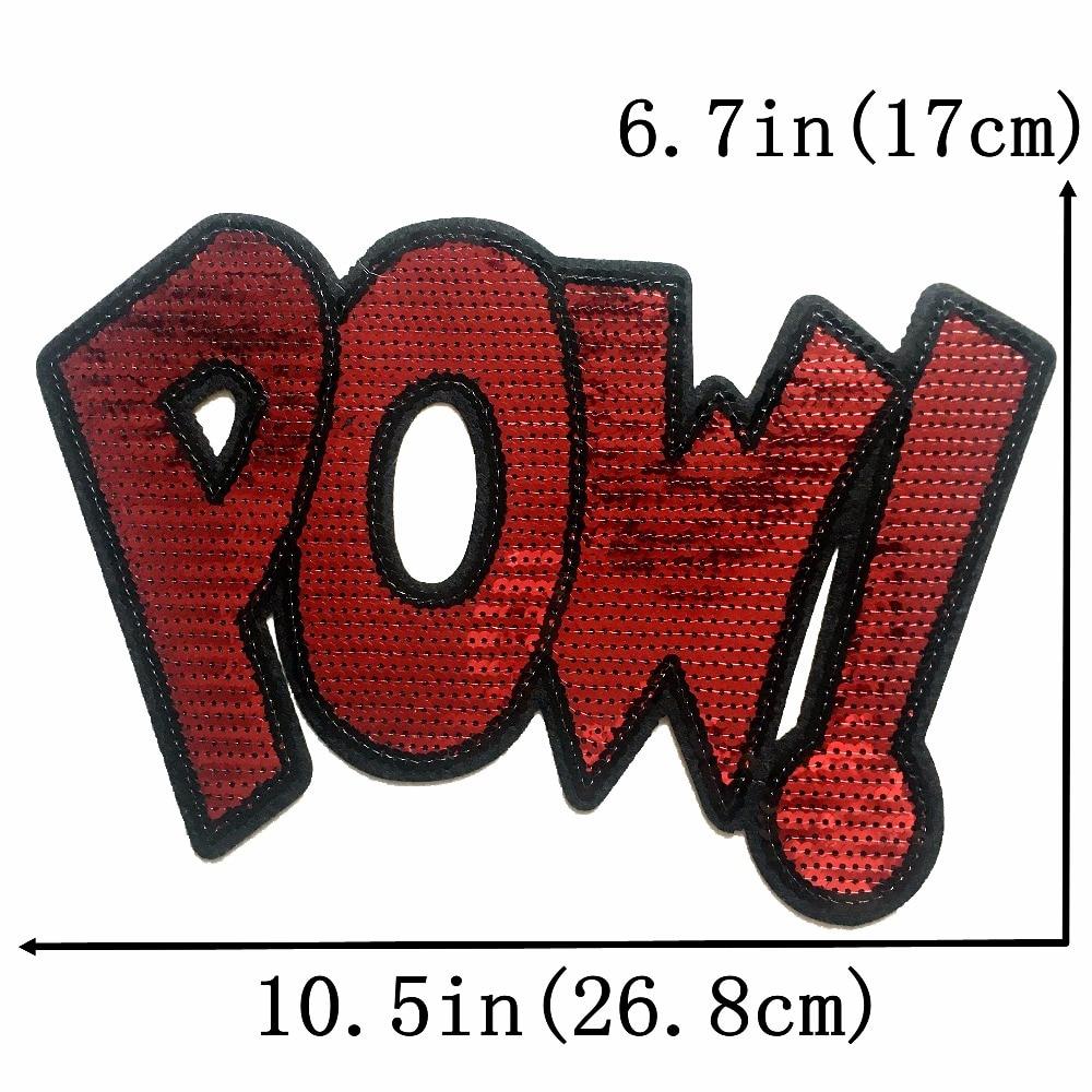 1 Pc Grote Pailletten Pow! Patches Voor Kleding Tassen T-shirt Ijzer Op Patch Diy Decoratie Applicaties Fashion Iron On Transfer Pure En Milde Smaak