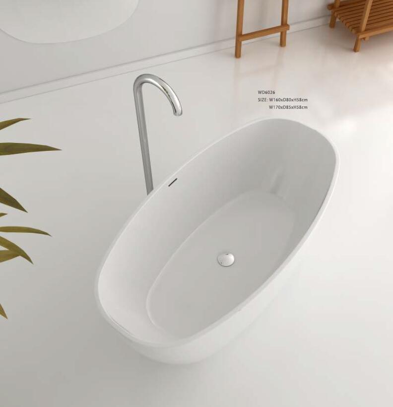 1750X850X580mm CUPC Approval Acrylic with Fiberglass Resin bathtub Freestanding Seamless Ultra-thin edge Tub 6026