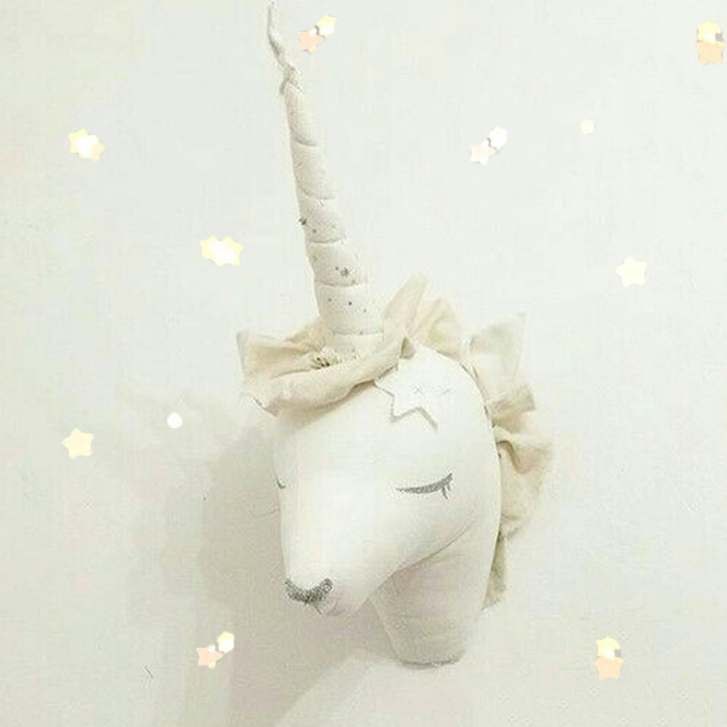 Unicorn Nordic Stuffed Testa Animals 3d di animale cervi parete decori monta QxtsrChd