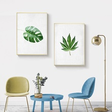 Modern Minimalist Nordic Poster Green Leaf Plant Canvas Painting Home Decoration Living Room Wall Art Pictures Unframed