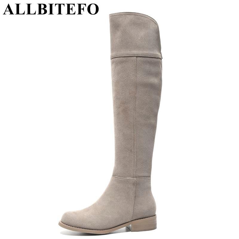 ALLBITEFO naturel plein véritable en cuir femmes bottes de Haute qualité d'hiver de mode filles dessus du genou bottes cuissardes bottes chaussures