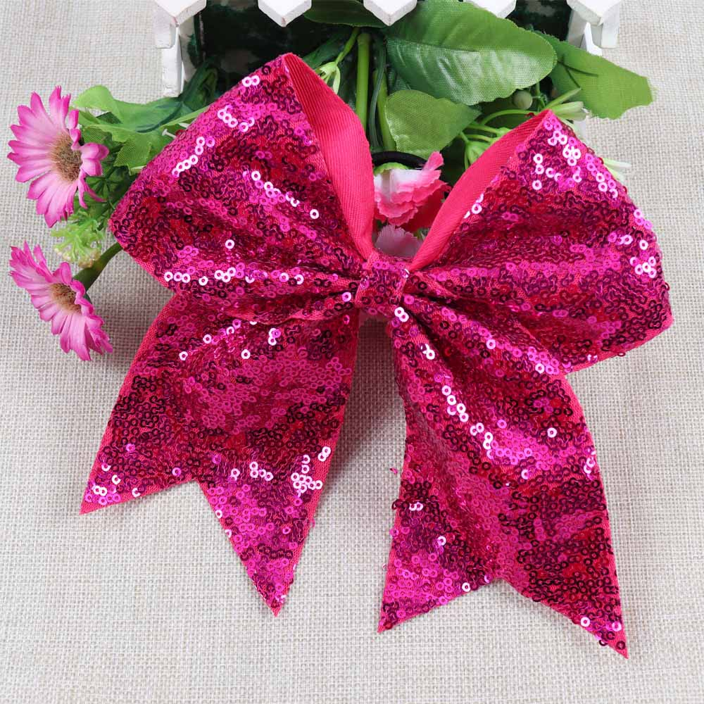 8-Handmade-Solid-Sequin-Cheer-Bow-For-Girls-Children-Boutique-Ribbon-Bow-With-Elastic-Band-Kids