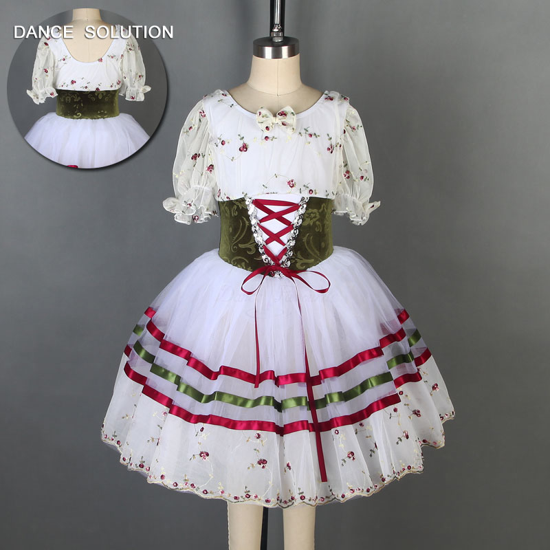 Puff Sleeve Ballet Dance Dress Romantic Length Ballet Tutu for Girls and Women Stage Performance Costume