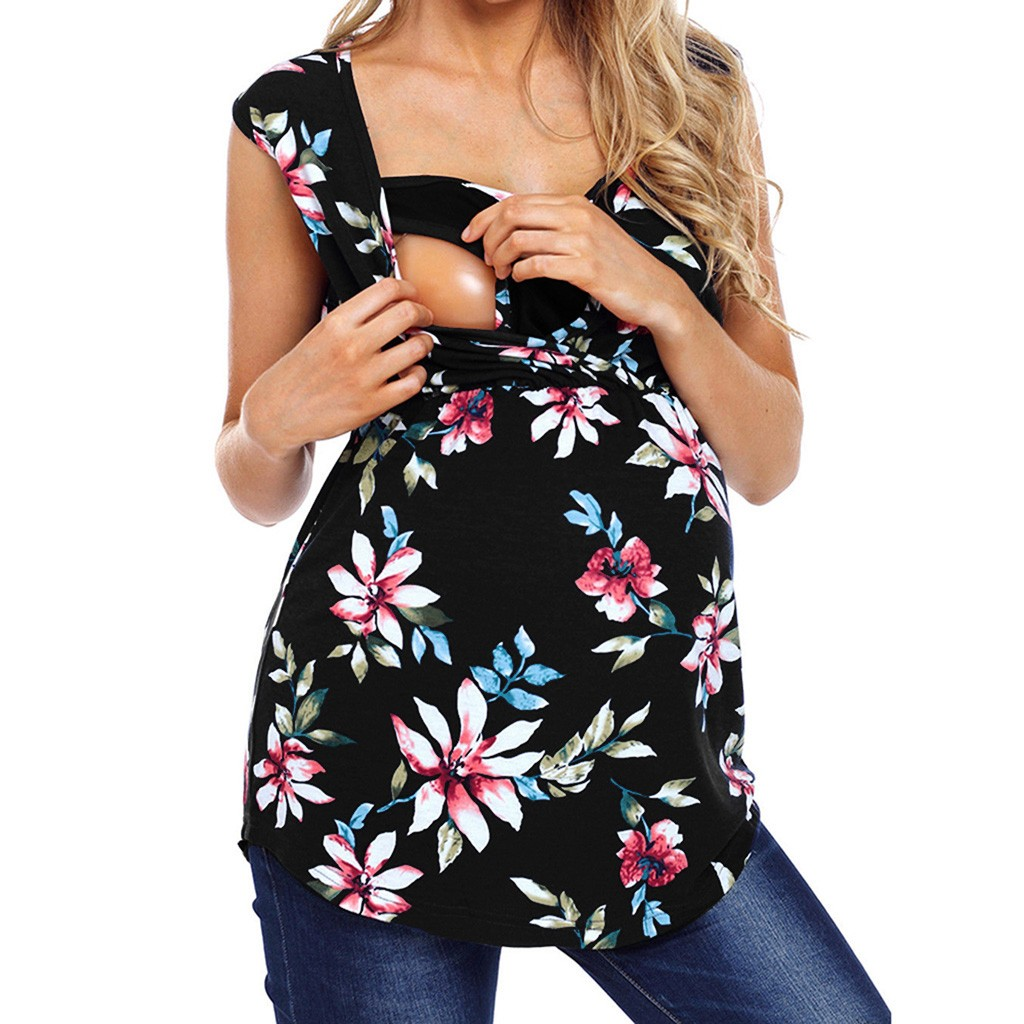 Tops Floral-Print Nursing Maternity Brestfeeding-Top Sleeveless Camisetas Blouse Verano title=
