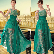 Formal Long Lace Evening Dresses 2015 New arrivals Sexy Green Chiffon A Line Elegant Prom Party Gowns Floor length