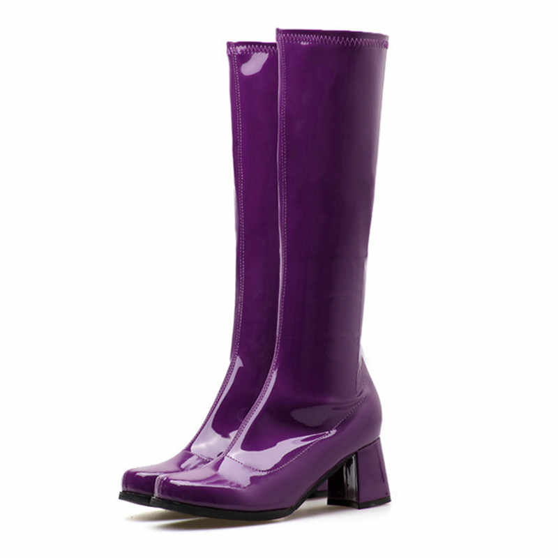 af6491cb047 ... NEW women riding knee high boots winter autumn pointed toe fashion black  blue purple shoes Casual