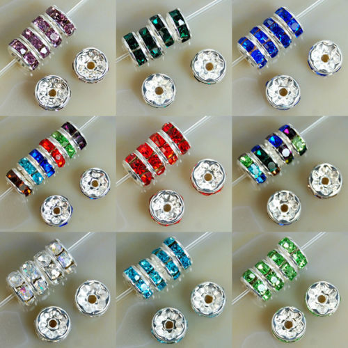 8MM AAA Metal Silver Plated Crystal Rhinestone Rondelle Spacer Beads 11Colors For Choose 100Pcs Free Shipping Wholesale