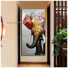 Profrossional aritist high quality Handpainted Elephant oil painting Wall Art animal Pictures On Canvas Home Decor For Bedroom цена