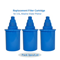 3 Pack Blue Alkaline Ionized Jug Filter Replacement Cartridge for 3.5 Litres Alkaline Water Filter Pitcher Blue Water Jug