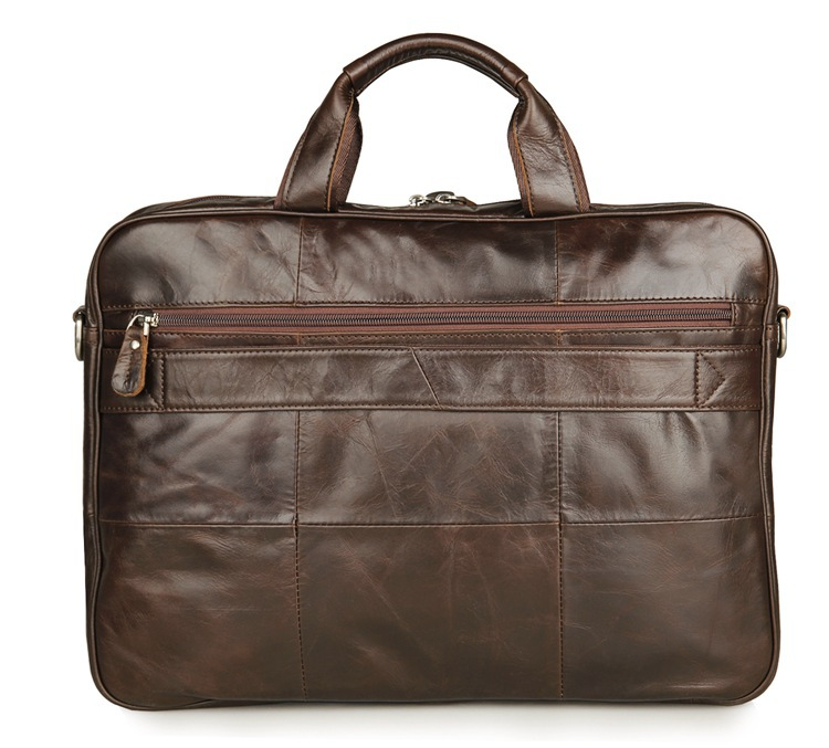 Nesitu Vintage Real Skin Genuine Leather Men Briefcase 14'' Laptop Bag Portfolio Men Messenger Bags #M7334-in Briefcases from Luggage & Bags    2