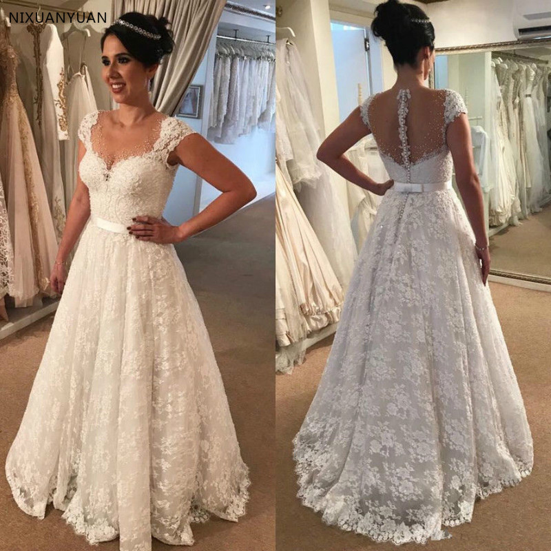 Vestido De Noiva Sweetheart Lace A-line Wedding Dresses 2019 Cap Sleeve Beaded Vintage Bridal Gown Plus Size Wedding Gown