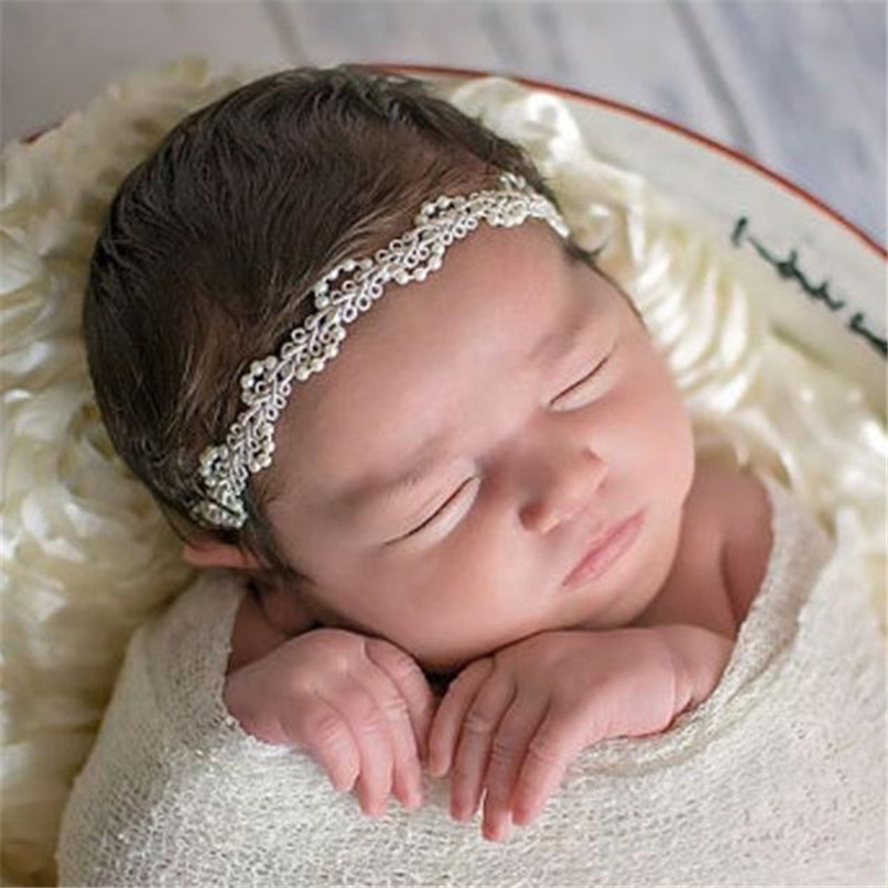Baby Girls Headwear Toddler Kids Baby Girl Solid Pearl HairBand Girls Headbands Hair Accessories Suit For 2M-5T Baby M8Y09
