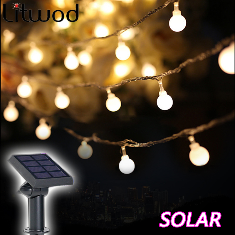 Litwod z20 Solar Lamps Outdoor lighting 50 Beads 7 Meters String LED Starry Light Rope patio Decor Fairy Icicle Lighting String