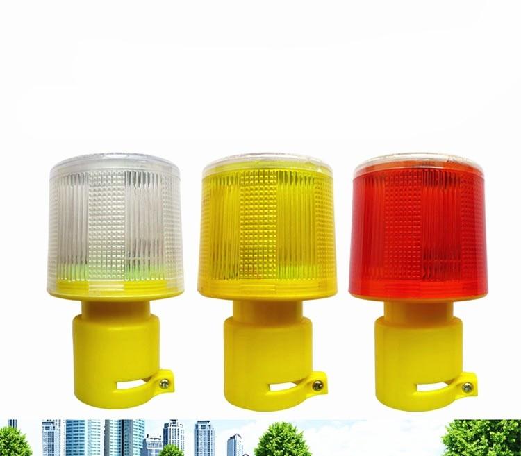 4LED Solar Powered Traffic Warning Light, White/yellow/red LED Solar Safety Signal Beacon Alarm Lamp