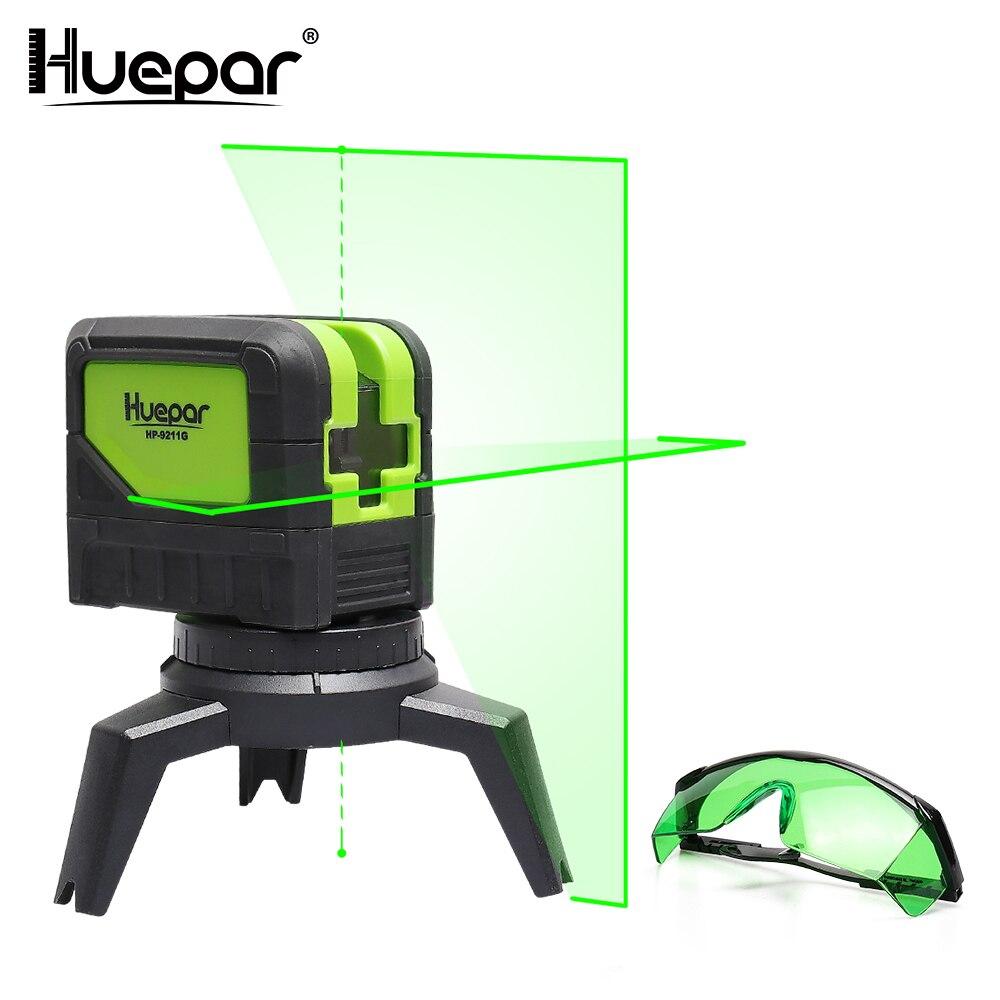 все цены на Huepar Green Beam Laser Level 2 Cross Lines 2 Points Professional 180 Degrees Self-leveling+Huepar Laser Enhancement Glasses онлайн