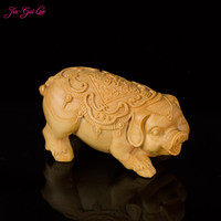 JIA GUI LUO Boxwood wood animal pig models hand carved craft gifts woodcut blessing pig A006