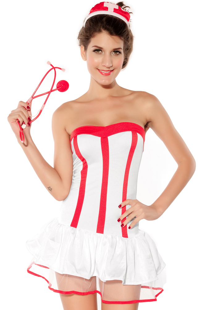 Ensen sexy Europe and the United States dress corset cosplay white Sexy Nurse Costumes game uniforms Exotic Apparel High Grade