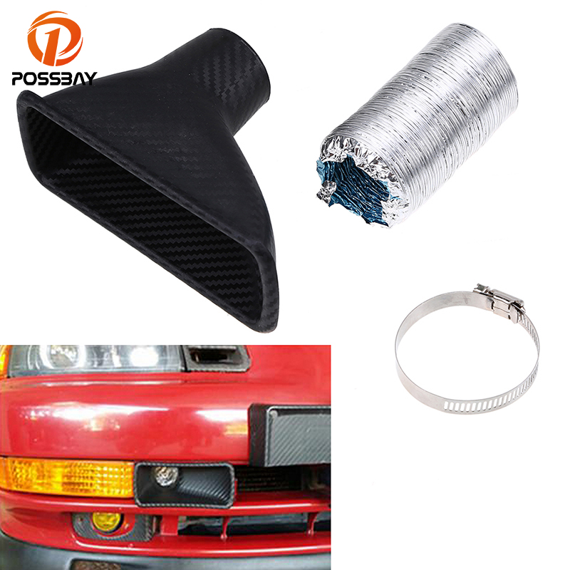 POSSBAY Car Front Bumper Turbo Air Intake Pipe Turbine Inlet Air Funnel Kit Round Rectangle ABS Plastic Cold Air Intake System