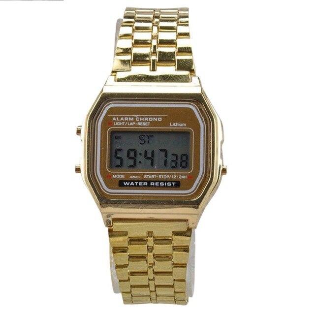 0589a2d9656 Moda Ouro Prata Relógios Homens Relógio Eletrônico Display Digital Relógio  estilo Retro Do Vintage