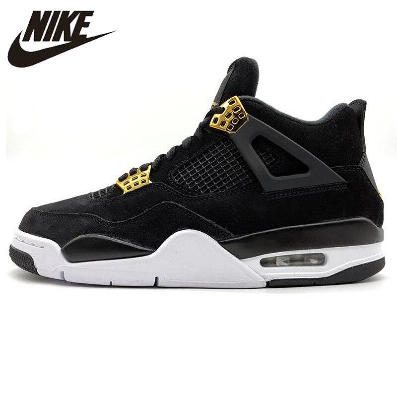 best sneakers a25ac ed2c6 US $143.52 40% OFF|Nike Air Jordan 4 Royalty AJ4 Joe 4 Luxury Black Gold  Suede Men's Basketball Shoes,Original Outdoor Sports Shoes 308497-in ...