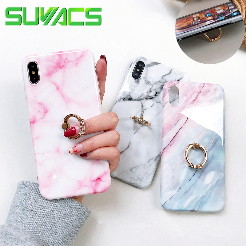 SUYACS Marble Phone <font><b>Case</b></font> For <font><b>iPhone</b></font> 11 Pro Max XR XS MAX X 6 6S 7 <font><b>8</b></font> <font><b>Plus</b></font> Finger <font><b>Ring</b></font> Kickstand Soft IMD Phone Back Cover <font><b>Cases</b></font> image