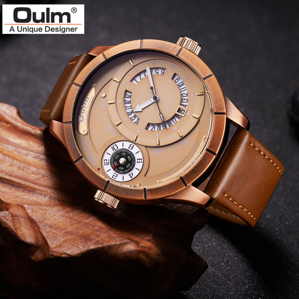 New Top Brand Oulm Man Quartz Watches Luxury Leather Strap Military Sport Wristwatch Male Clock relogio masculino drop shipping meibo brand fashion women hollow flower wristwatch luxury leather strap quartz watch relogio feminino drop shipping gift 2012