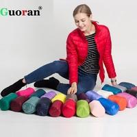 Guoran Slim Stand Collar Women Down Coat Ultra Light 90 White Duck Down Jackets Femme