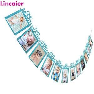 Image 1 - 12 חודשים תמונה מסגרת באנר 1st מסיבת יום הולדת קישוטי תינוק ילד ילדה ראשון שמח יום הולדת יום נישואים וגינה דקור