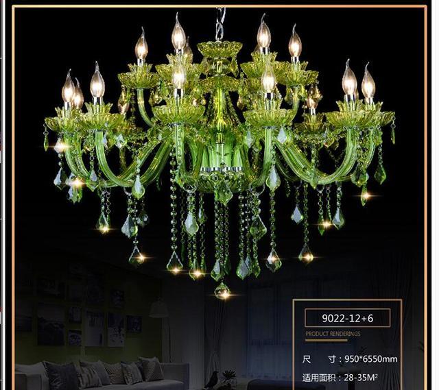Modern Chandelier Green Crystal Lighting E14 Ac 90 260v Shadeless Re Led Lamp Lampadario