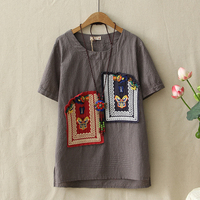 Ethnic Vintage Style Patch Designs Embroidered Womens T Shirts Round Neck Cotton Linen T Shirt Loose
