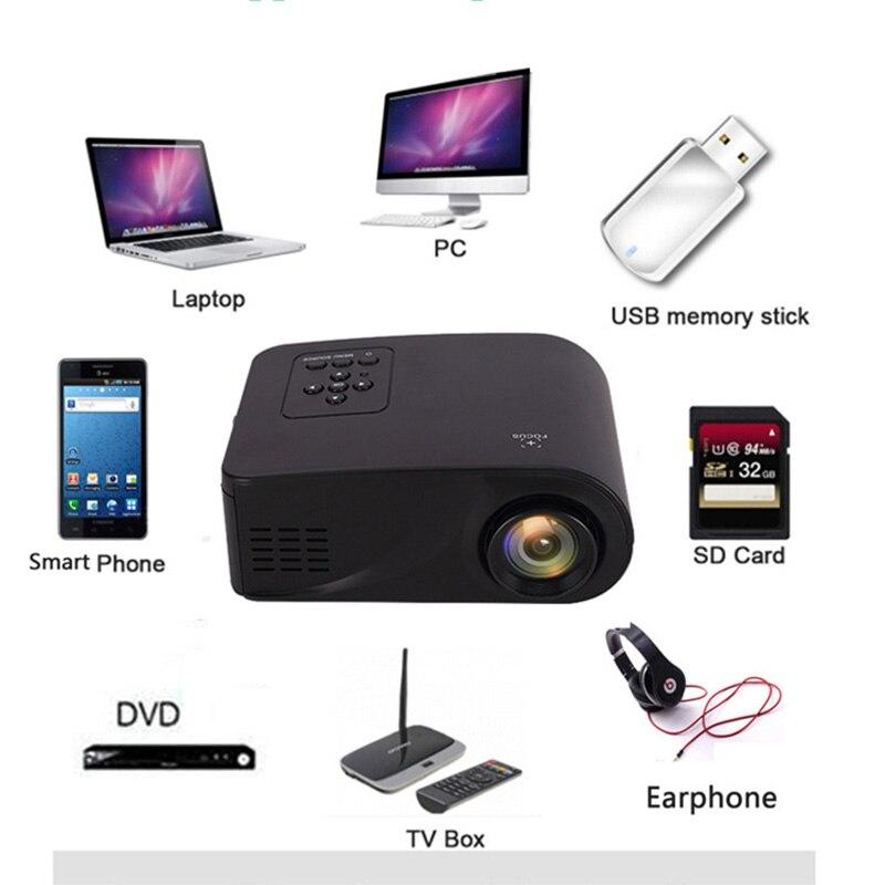 Mini ménage HD projecteur Miniature 3D Home cinéma Portable projecteur de téléphone Portable haute qualité objectif de mise au point 1080 P HD TOP