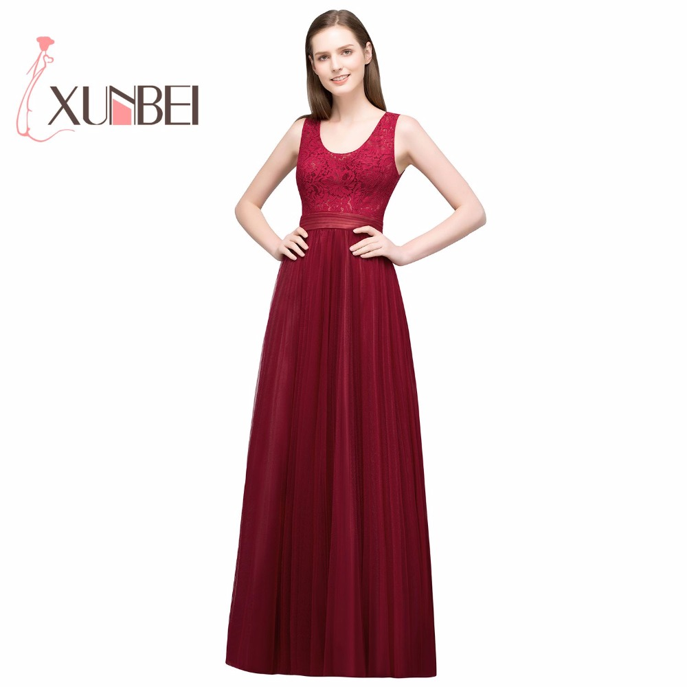 Robe demoiselle d'honneur A Line Burgundy Tulle   Bridesmaid     Dresses   Long 2019 Sleeveless Lace Prom   Dresses   Party Gown