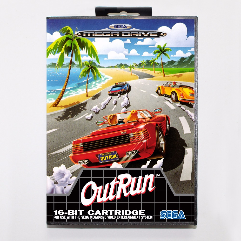 OutRun Game Cartridge 16 bit MD Game Card With Retail Box For Sega Mega Drive For Genesis цена